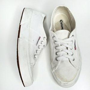 Superga White Lace Up Canvas Sneakers 38/7.5